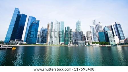 Wide panorama of skyline Singapore - stock photo