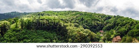 Wide panoramic bird-fly view. Alsace hills. France. Agriculture and nature.