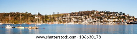 Wide panoramic shot of the River Dart with Kingswear in the background. - stock photo