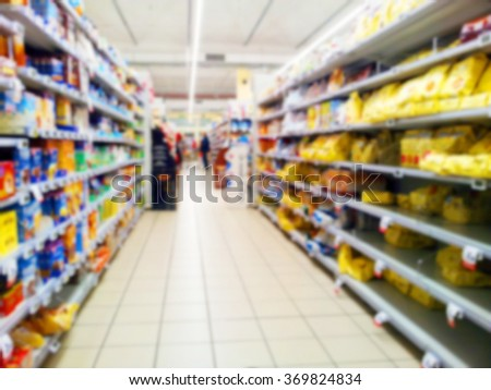 Wide perspective of empty supermarket aisle, blurred effect