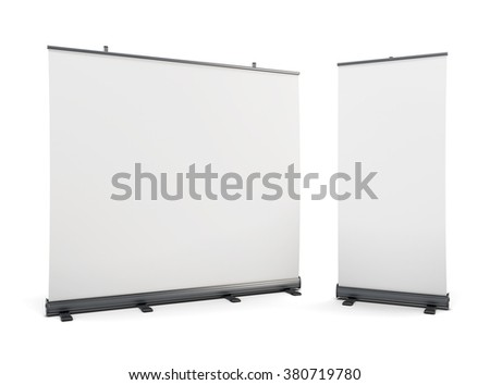 Wide portable advertising banner and roll-up isolated on white background. 3d rendering.