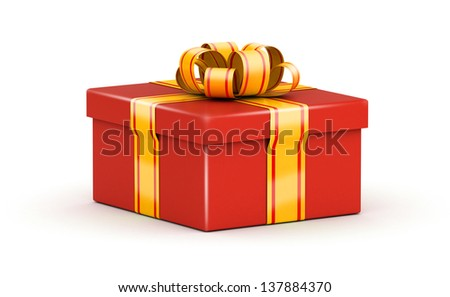 Wide red gift box with yellow ribbons on white background - stock photo