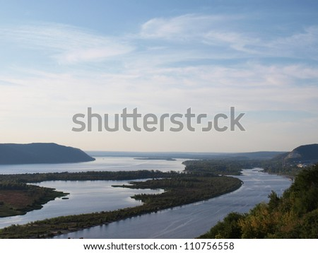 Wide river - stock photo