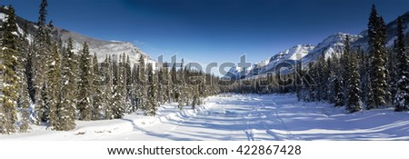 Wide scenic winter panorama of a frozen snow covered river in Canada, clear blue sky, mountains in the background, flanked by pine trees - stock photo