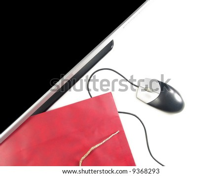 Wide Screen LCD Computer Monitor, Mouse and Gift bag (Isolated on white background) - stock photo