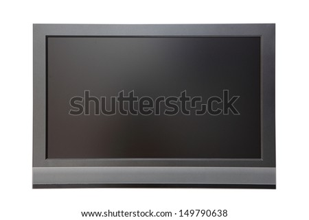 wide screen LCD TV isolated on white background - stock photo