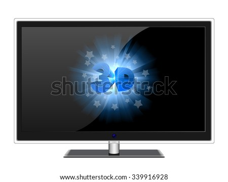 Wide screen modern TV with 3D sign isolated on white. - stock photo