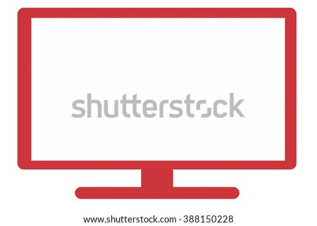 Wide-screen monitor with blank screen, Icon - stock photo