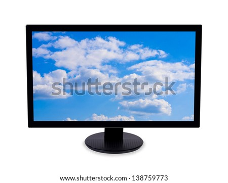 Wide-screen monitor with cloudy sky image on screen. Isolated on white background.