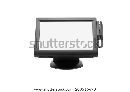 Wide Screen Point Of Sale System On White Background