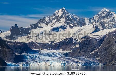 Wide shot of Beautiful John Hopkins Glacier - stock photo