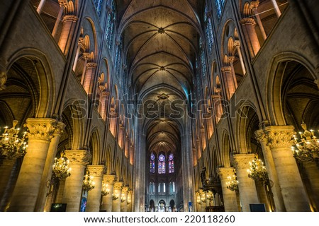 Wide shot of Notre Dame cathedral interior, Paris, France - stock photo