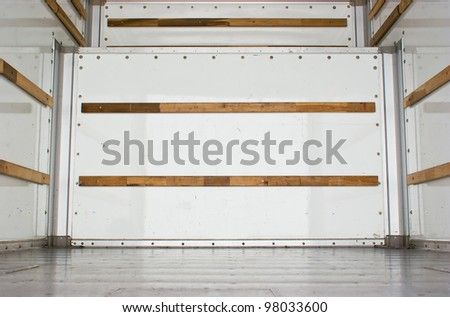 Wide view of an empty cargo truck. - stock photo