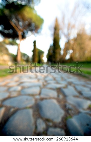 wide view of Appia street, Roma, Italy - stock photo