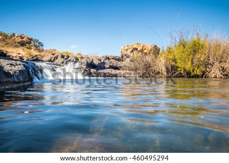 Wide view of Bourkes Luck Potholes waterfall, Mpumalanga. Landscape exterior.