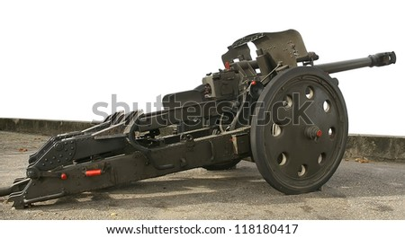 Wide view of cannon Rheinmetall 105mm from German WW2 war arsenal.