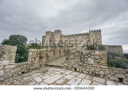 Wide view of The Alcazaba de Trujillo castle in Extremadura, Spain.