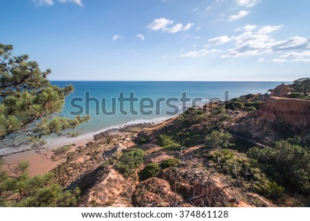 Wide view of the beautiful coastline of Olhos D'Agua near Vilamoura, Portugal.