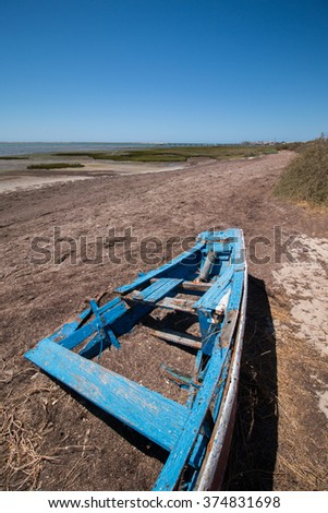 Wide view of the Ria Formosa marshlands located in the Algarve, Portugal. - stock photo