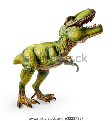 Wide view of Tyrannosaurus, side view, dinosaurs toy isolated on white background with clipping path.