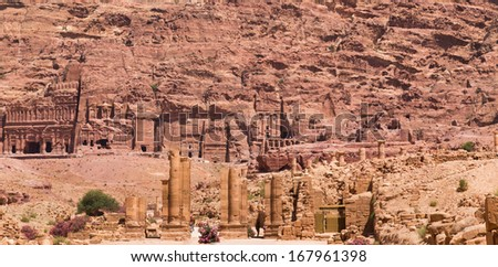 Wide view on Ancient City of Petra, Jordan - stock photo