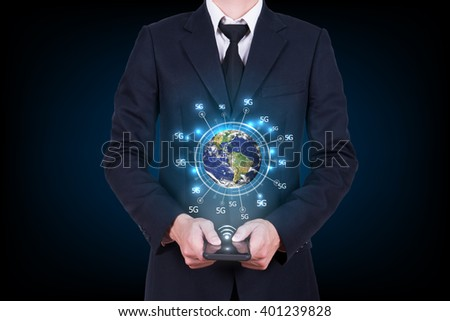 wide web connection concept. Hand holding mobile phone connected browsing internet worldwide world map background. 5g data plan provider. Elements of this image are furnished by NASA - stock photo
