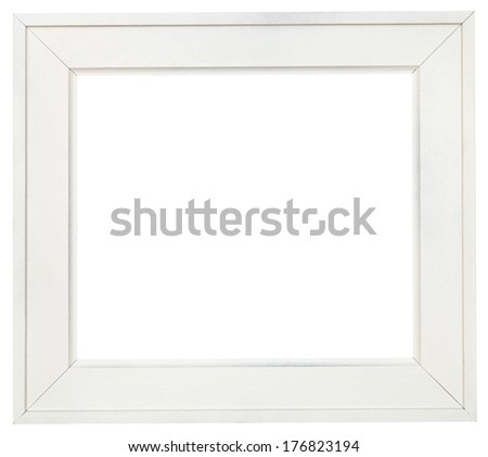 wide white wooden picture frame with cut out canvas isolated on white background - stock photo