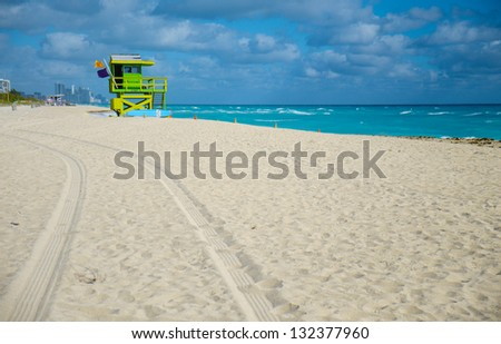 Wide yellow sand beach in Miami. Florida, USA