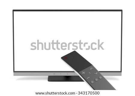 Widescreen tv and smart remote control - stock photo