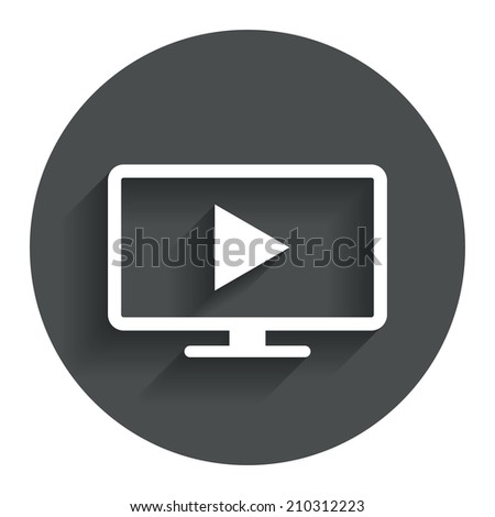 Widescreen TV mode sign icon. Television set symbol. Circle flat button with shadow. Modern UI website navigation.