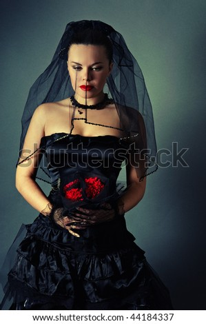 widow with a veil - stock photo