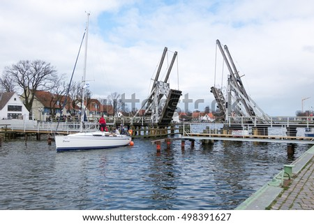WIECK, GERMANY - APRIL 2, 2015:  Historical bascule bridge in Wieck (Greifswald), Mecklenburg-Vorpommern, Germany