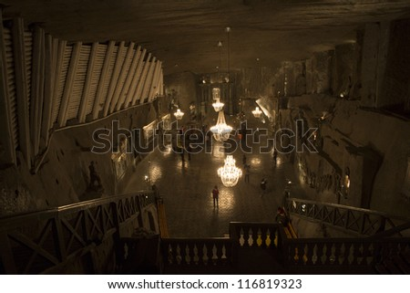 WIELICZKA, POLAND - OCTOBER 23: Wieliczka Salt Mine (13th century) is one of the world's oldest salt mines. Has over 300 corridors and 300 chambers on 9 levels. October 23, 2012 in Wieliczka, Poland.