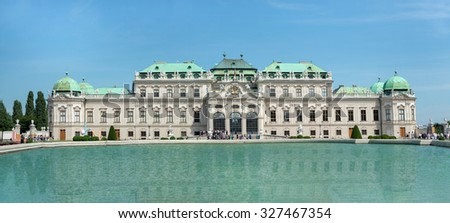 WIEN, AUSTRIA - AUGUST 1, 2015: View of Belvedere Castle since 1712 is a masterpiece of Baroque Austrian and one of Europe's most beautiful princely residences.