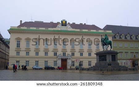 WIEN, AUSTRIA, JANUARY 4, 2015: view of the outer courtyard of hofburg in wien where horseman statue of josepho II is situated. - stock photo
