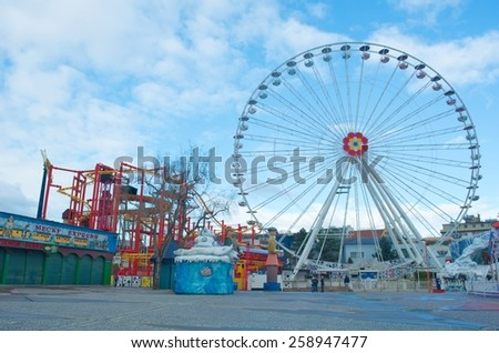 WIEN, AUSTRIA, JANUARY 4, 2015: view of the second riesenrad situated inside of the prater amusement park in wien.