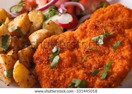 Wiener schnitzel, salad and fried potatoes on a plate close-up. horizontal - stock photo