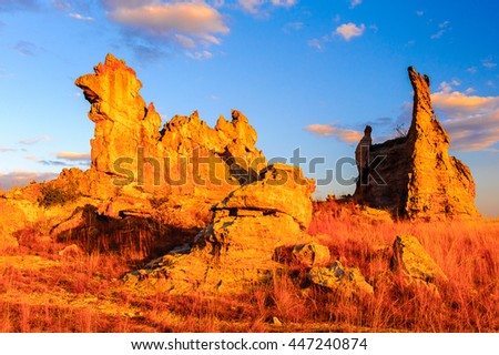 Wierd rock on the sunset in Madagascar