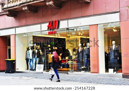 WIESBADEN,GERMANY-FEB 18:HM store on February 18,2015 in Wiesbaden,Germany. H&M is an international fashion retail corporation. Founded in 1947