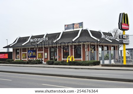 WIESBADEN,GERMANY-FEB 18:McDonald's Restaurant on February 18,2015 in Wiesbaden,Germany.  McDonald's is the main fast-food restaurant.  - stock photo