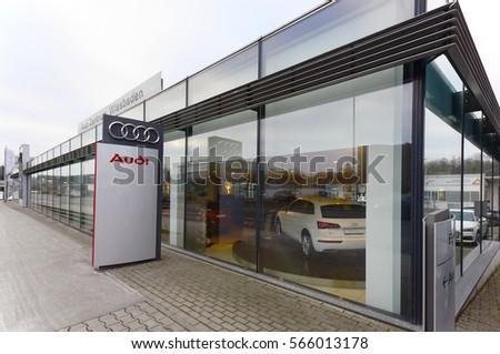 WIESBADEN, GERMANY- JAN 26: AUDI car showroom and logo on January 26, 2017 in Wiesbaden, Germany.