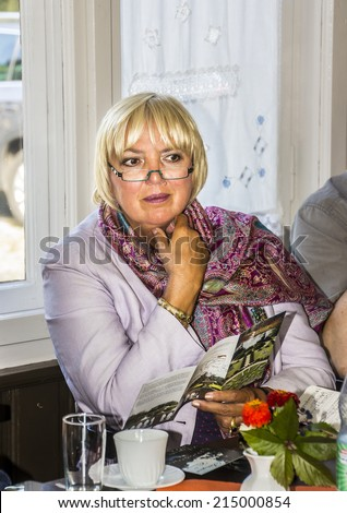 WIESENBURG, GERMANY - SEPTEMBER 3, 2014: Claudia Roth, former National Chairman of the green party,  now Vice-President of the German Bundestag at  her campaign for the elections in Brandenburg.