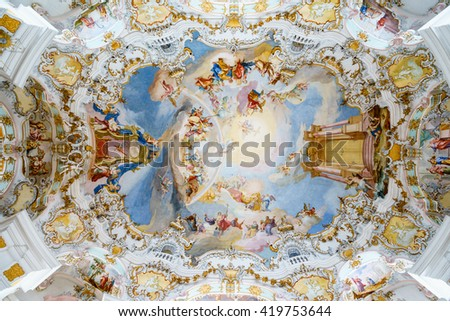 WIESKIRCHE, GERMANY â?? MARCH 07: Beautiful painted ceiling with stuccowork in church on March 07, 2016 in Wieskirche, Germany.