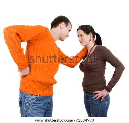 Wife and husband yelling to each other - stock photo