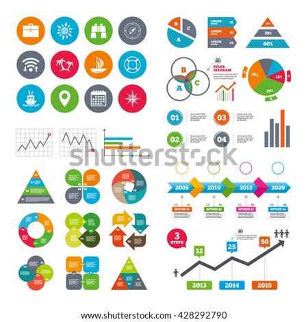 Wifi, calendar and web icons. Cruise trip, ship and yacht icons. Travel, cocktails and palm trees signs. Sunglasses, windrose and swimming symbols. Diagram charts design. - stock photo