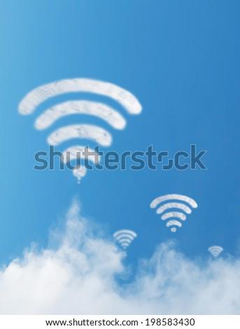 Wifi cloud shape with blue sky background - stock photo