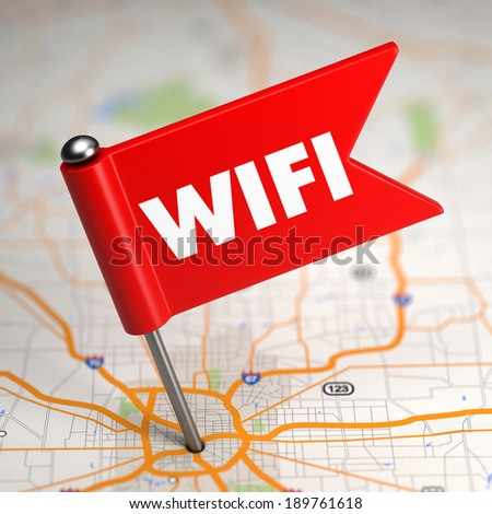 WiFi Concept - Small Flag on a Map Background with Selective Focus. - stock photo