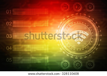 WIFI free icon. Internet button on abstract background