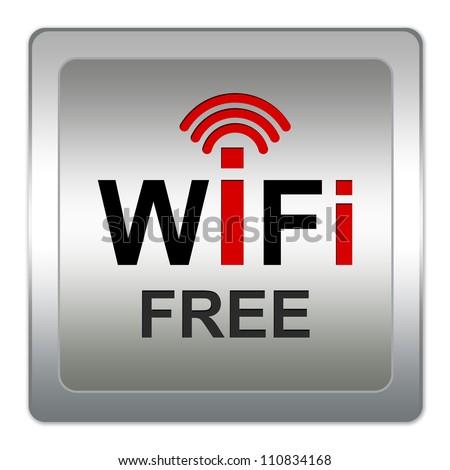 WiFi Free Icon With Square Metallic Style Icon Isolate on White Background - stock photo