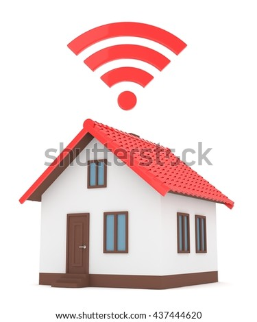 Wifi house on white background. Wireless technology. Internet, phone and radio signal. Network. 3D rendering